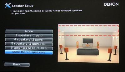 Denon X8500H visual speaker setup