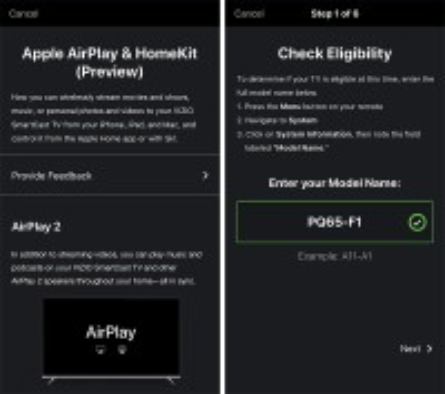 Vizio HomeKit and Airplay2 support