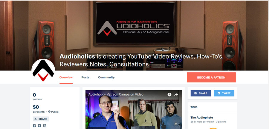 Help Grow Our YouTube Channel, Become a Patron! | Audioholics